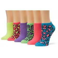 6 Pairs: K. Bell Women's No Show Neon Patterned Socks