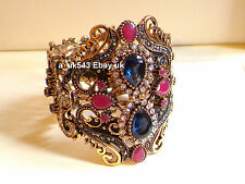 Bangle/Bracelet,Antique gold Sapphire Ruby bracelet,Cuff bangle,Wide bracelet
