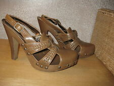 Womens 6 CANDIE'S VINTAGE Brn Faux Leather Heels Shoes CUTE!