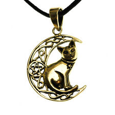 Bronze Cat Moon Pentagram Star Pendant Cord Necklace Lisa Parker