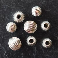 STERLING SILVER 925 (STS) ROUND CORRUGATED BEADS *4MM & 5MM *JEWELLERY MAKING