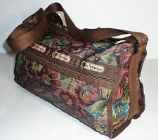 Le SportSac Brown Floral Print Crossbody Flower Shoulder Bag Purse