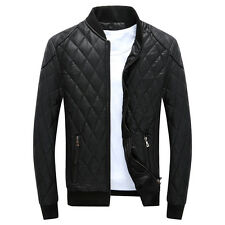 Men's fashion jackets collar Slim motorcycle fleece leather jacket coat outwear