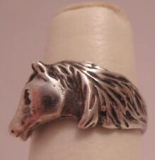 Unusual Old 925 Sterling Silver Horse Head Ring Size 7 Ca 1940s-50s