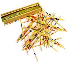 Pick Up Sticks Wooden Game in a Wooden Box - Traditional Retro Mikado Game Set