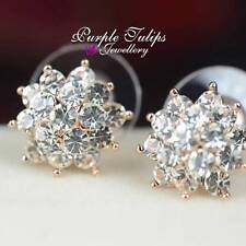 18CT Rose Gold Plated Sparkling Flower Stud Earrings W/ Swarovski Crystals