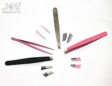 4PCS EYEBROW TWEEZERS HAIR BEAUTY SLANTED STAINLESS STEEL PROFESSIONAL TWEEZERS