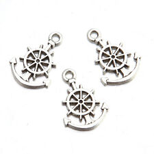 50pcs Wholesale Antique Silver Rudder And Anchor Alloy Jewelry Pendant Charms J