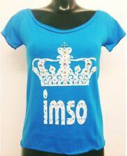 Imso blue jewel studded crown short sleeved ladies t.shirt, one size, brand new.