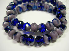 25 beads - 8x6mm Cobalt blue and Purple Czech Firepolished Rondelle beads