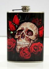 Hip Flask 8oz With Skull Design Item #HFS-007