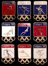 Lot~Set of 9 New! Vintage! Olympic Pin Badge~Calgary~1988~5 rings~Winter Games