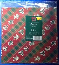 Vintage Cleo Mistletoe And Holly Christmas Wrapping Paper 2 Sheets 8.3 Sq Ft