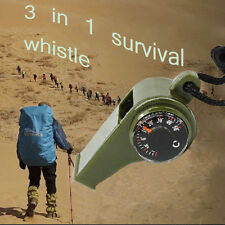 3in1 Emergency Survival Tool Outdoor Camping Hiking Whistle Compass Thermometer