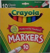 CRAYOLA MARKERS Classic Broad Line Tips Assorted Colors 10 Ct/Pk