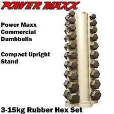 POWER MAXX Rubber Hex Dumbbell Set 3-15kg Rack Home Gym Weights Dumbell