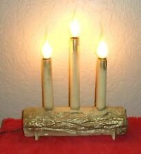VINTAGE CHRISTMAS XMAS HOLIDAY CANLEABRA CANDLE YULE LOG DECORATION LIGHTS