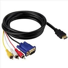 HDMI to SVGA VGA 3RCA Audio Video AV Adapter Cable 1.8M 6FT High Speed for DVD