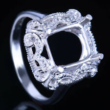 Cushion 9X8mm Solid 14K White Gold Diamonds Semi-Mount Setting Engagement Ring