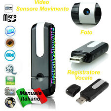 MICROSPIA PENDRIVE MOTION DETECTION U8 DISK VIDEO CAMERA REGISTRATORE SPIA SPY