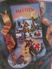 Dimensions 9109 Needlepoint Stocking MOONLIGHT SKATERS Kit ~ Sealed ~ Mock