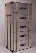 Industrial Aluminium & Faux Leather Tallboy 5 Drawer Chest Best Price on Ebay !!