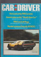 Car & Driver Magazine August 1973 Corvette Mercedes Cosworth Vega Mazda