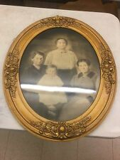 Antique Family Portrait  Victorian Ornate Oval Wooden Frame