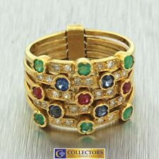 1880's Victorian 18k Solid Yellow Gold Emerald Sapphire Ruby Diamond Harem Ring