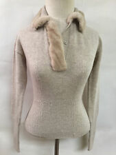 NWT PRADA $1470 Beige Wool/Cashmere Mink Fur Trim Collar Polo Sweater Top Sz XS