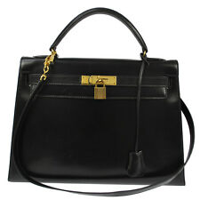 AUTHENTIC HERMES KELLY 32 BLACK BOX CALF HAND BAG GHW VINTAGE w/STRAP SN00182