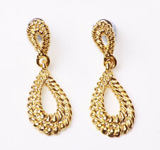 EXQUISITE PRECIOUS-LOOKING GOLD TONE GLIMMERING 'TEAR' DROP EARRINGS (ZX25)