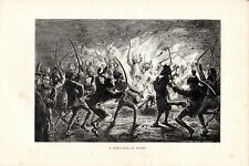 """S.P.HALL - """"A WAR-DANCE AT DELHI"""" - WOOD ENGRAVING FROM 'THE PRINCE'TOUR' (1877)"""