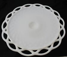 "Vintage Hobnail Milk Glass Cake Stand White 12"" Wide 4.75"" Tall - Imperial Glass"