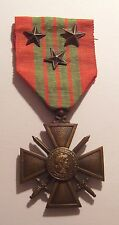 VINTAGE WW II French Croix de Guerre Military Medal 1939 3 STARs