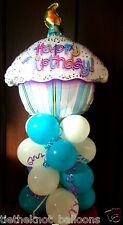 "18"" FOIL BALLOON TABLE DISPLAY DECORATION HAPPY BIRTHDAY CUPCAKE PARTY AIRFILL"