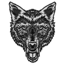 "LONE WOLF HEAD TATTOO STYLE EMBROIDERED PATCH DECORATIVE IRON-ON EMBLEM 5""H 4""L"