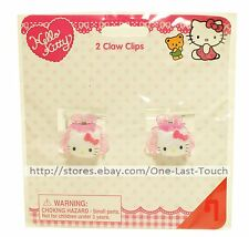 HELLO KITTY 2pc Claw Hair Clips PINK With Bow Shaped Charms SANRIO (Carded)