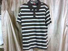 Men's Tony Hawk Short Sleeve Knit Shirt Brown Stripe L large Tony Skate Board