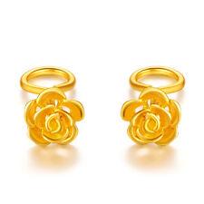 Charming Real 24k Yellow Gold Earrings Lucky Rose Flower Stud Earrings 1.5-2g