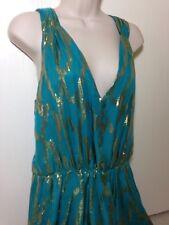 COREY LYNN CALTER Aqua Metallic Gold Lame V-neck sleeveless Dress Sz 6