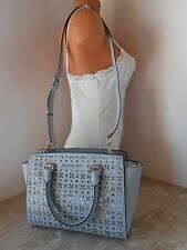 New MICHAEL KORS SELMA Medium Perforated Leather Satchel $328 DUSTY BLUE