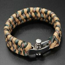 ParaCord Survival Bracelet 7-Stand Stainless Steel Shackle Buckle Weave Handmade