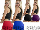 LADIES SEXY HOT PLAIN NEON PANTS SHORTS DANCE GYM CLUB WEAR PARTY SIZE 8-14