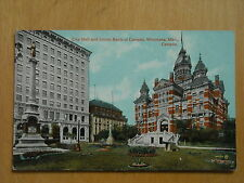 OLD POSTCARD OF THE CITY HALL & UNION BANK OF CANADA,WINNIPEG, MANITOBA CANADA