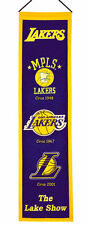 "Los Angeles Lakers 32"" Embroidered Genuine Wool Heritage Banner NWT NBA"
