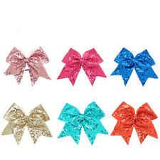 8inch 6pcs/lot Sequin Bling Large Cheerleading Cheer Bow Elastic Band Girls