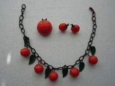 Vintage Rare Bakelite Necklace of Oranges on Celluloid Chain w/ Pin and Earrings