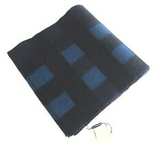L-3725141 New Burberry Blue & Black Plaid Heavy Wool & Cashmere Blend Scarf