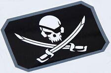 PIRATE SKULL WITH SWORDS FLAG MORALE MILITARY CAR VEHICLE WINDOW DECAL STICKER